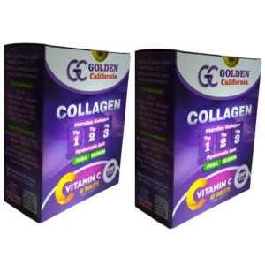 Golden California Collagen Hidrolize Tip 1-2-3 Hyaluronik Asit 60 Tablet 2 Adet