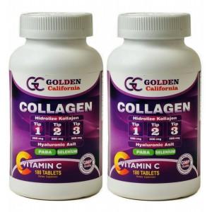 Golden California Collagen Hidrolize Tip 1-2-3 Hyaluronik Asit 180 Tablet2 Adet