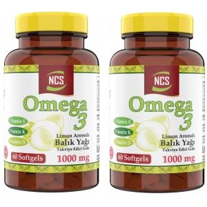 Ncs Limon Aromalı Omega 3 Balık Yağı 1000 MG 60 Yumuşak Kapsül 2 Adet