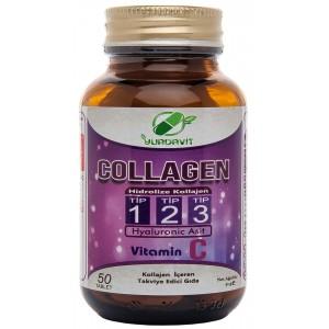 Yurdavit Hidrolize Collagen Type 1-2-3 Hyaluronic Acid 50 Tablet