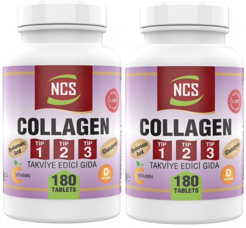 Ncs Hidrolize Collagen (kolajen) Type (tip) 1-2-3 Hyaluronic Acid Vitamin C Glutatyon 180 Tablet 2 Adet