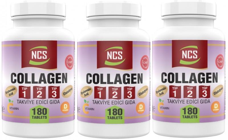 Ncs Hidrolize Collagen (kolajen) Type (tip) 1-2-3 Hyaluronic Acid Vitamin C Glutatyon 180 Tablet 3 Adet